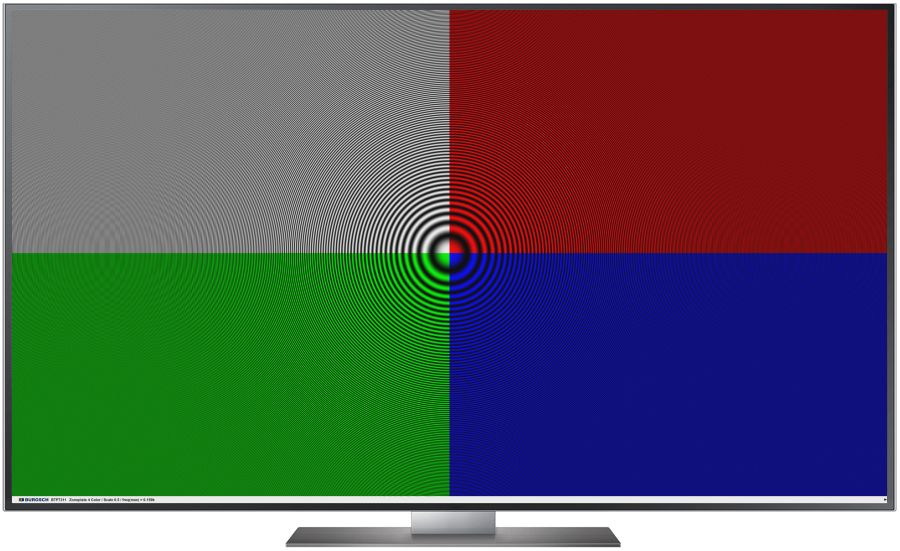 TV Testbild Zoneplate 4 Color scale 0.5 Full HD 1920 x 1080 Px.